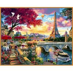 Цветущий Париж - в раме, цветной холст