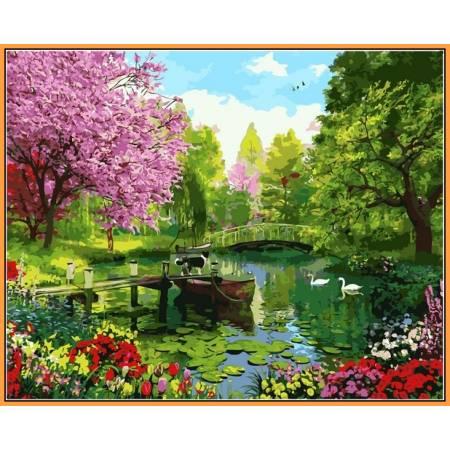 Вишневый сад - в раме, цветной холст
