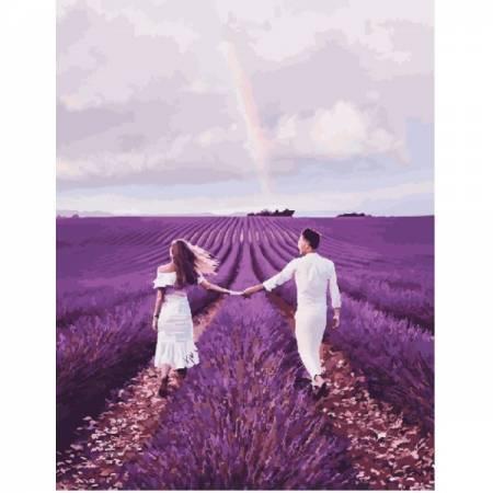 Картина по номерам Пара в лавандовом поле Валенсоль GX23786, Rainbow Art
