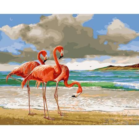 Картина по номерам Фламинго на берегу GX29378, Rainbow Art