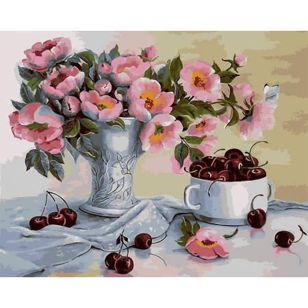 Картина по номерам Черешня и розовый букет GX21539, Rainbow Art