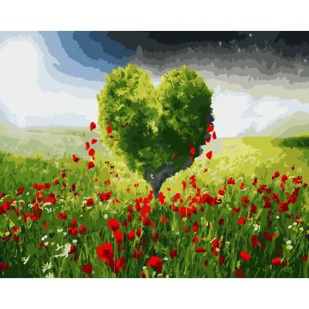 Картина по номерам «Дерево любви в зеленом поле» без коробки, GX22532