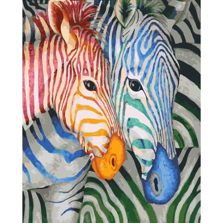 Картина по номерам Яркие зебры GX23031, Rainbow Art