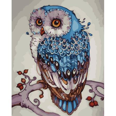 Картина по номерам Синяя сова GX23154, Rainbow Art