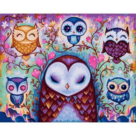 Картина по номерам Сказочные совы GX23541, Rainbow Art