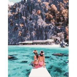 Девушки у острова Корон, цветной холст