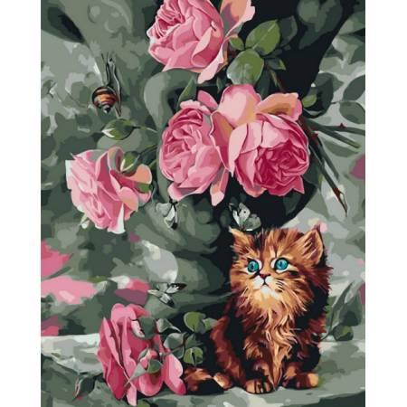 Картина по номерам Котенок и розы GX3574, Rainbow Art