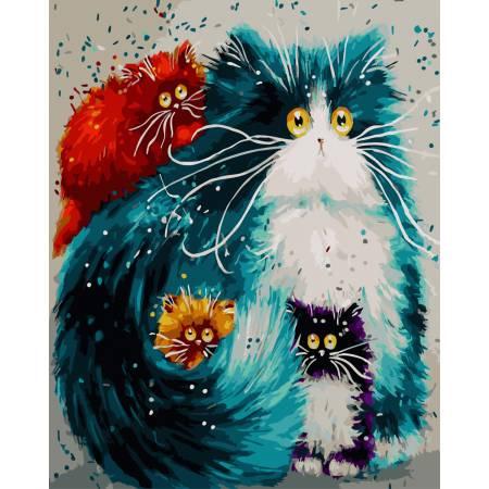 Картина по номерам Разноцветные коты GX3805, Rainbow Art