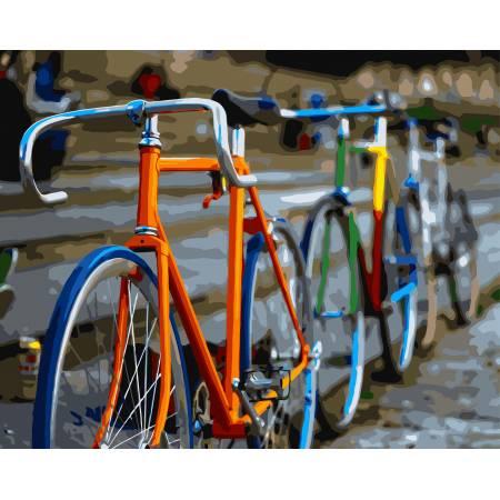 Картина по номерам Радужные велосипеды GX7103,