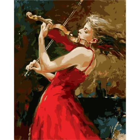 Картина по номерам «девушка и скрипка», модель GX8121