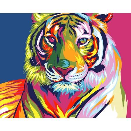 Картина по номерам Разноцветный тигр GX9203, Rainbow Art