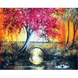 Лиловое дерево у моста