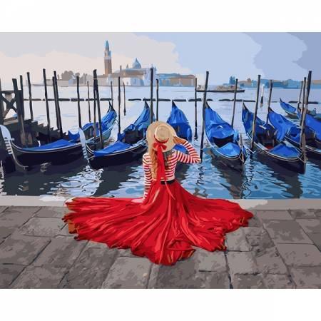 Картина по номерам Девушка у причала Венеции, цветной холст PGX24895, Rainbow Art