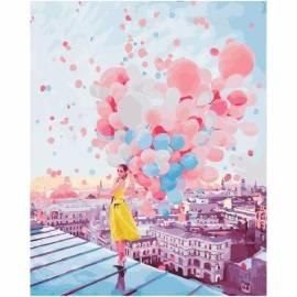 Девушка с шарами на крыше, цветной холст