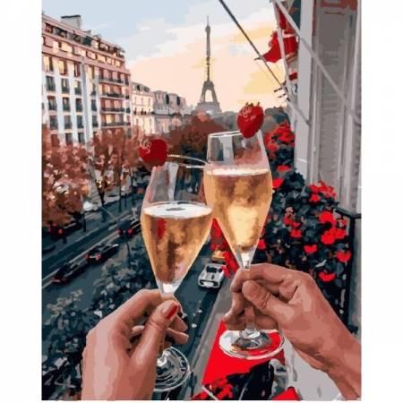 Бокалы Парижа с ягодами, цветной холст