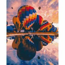 Запуск шаров, цветной холст