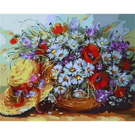 Картина по номерам Букет ромашек и шляпка Q1734, Mariposa