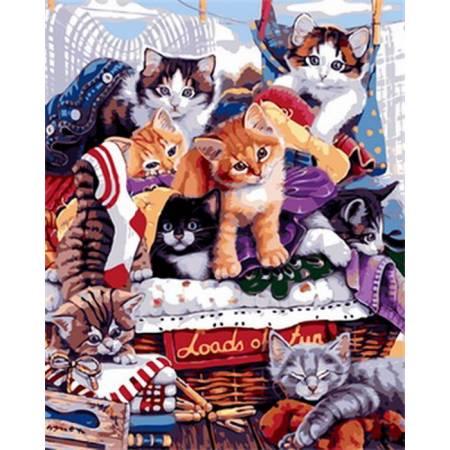 Картина по номерам «Озорные котята », модель Q1764