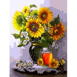 Мед и подсолнухи, цветной холст