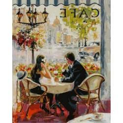 Французское кафе, цветной холст