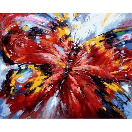Картина по номерам ««Алая бабочка - Babylon Premium (цветной холст)»», модель NB884