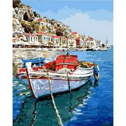 Лазурные воды Греции, цветной холст
