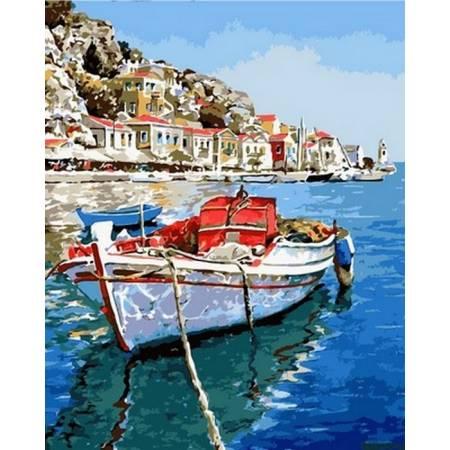 Картина по номерам Лазурные воды Греции,, цветной холст NB831, Babylon Premium