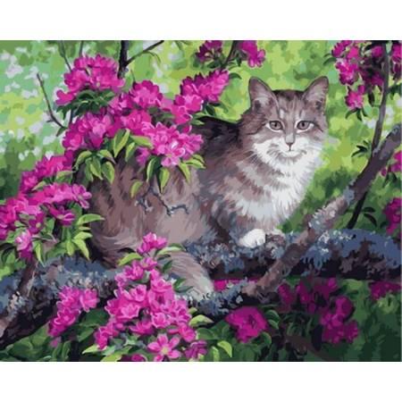 Картина по номерам «Кот и цветущее дерево », модель VP883