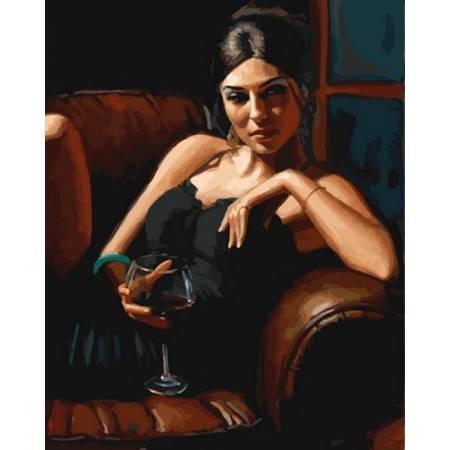 Картина по номерам Девушка с бокалом Каберне VP891, Babylon
