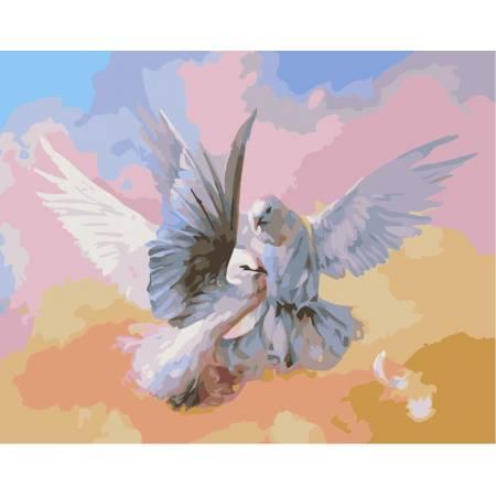 Картина по номерам Влюбленные голубки sw007,