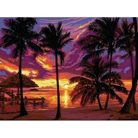 Картина по номерам «Закат в тропиках », модель VK044