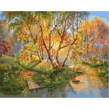 Картина по номерам «Березы осенью», модель vp165