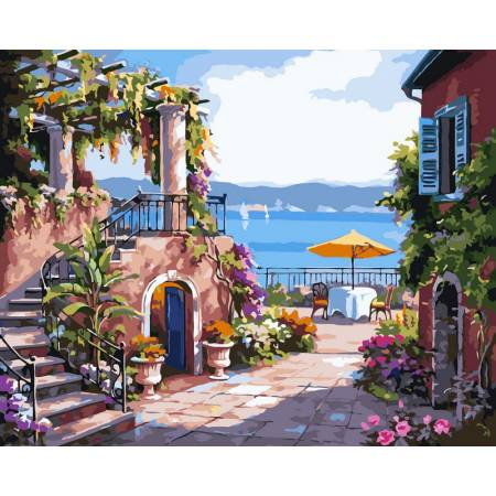 Картина по номерам «Раскраска по номерам - Тихий дворик худ. Сунг, Ким», модель VP214