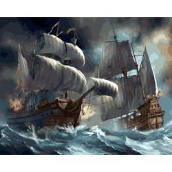 Сражение кораблей во время шторма