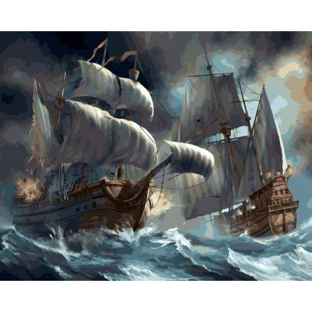 Картина по номерам Сражение кораблей во время шторма VP257, Babylon