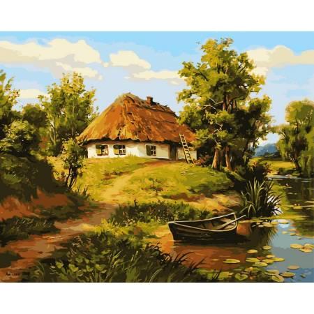 Картина по номерам «Домик возле пруда», модель vp356