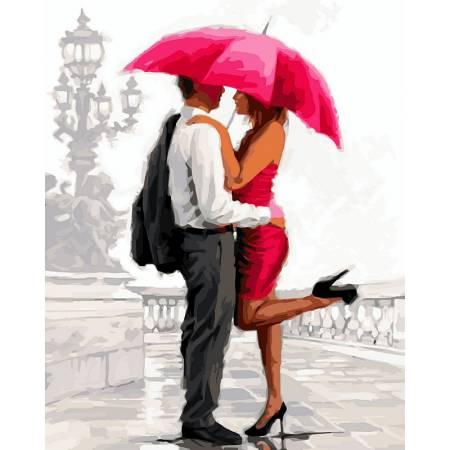 Картина по номерам «Влюбленные под алым зонтом », модель VP451