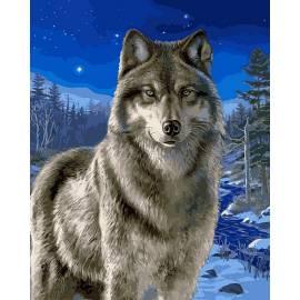 Волк в зимнем лесу