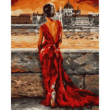 Картина по номерам Итальянка в красном VP512, Babylon