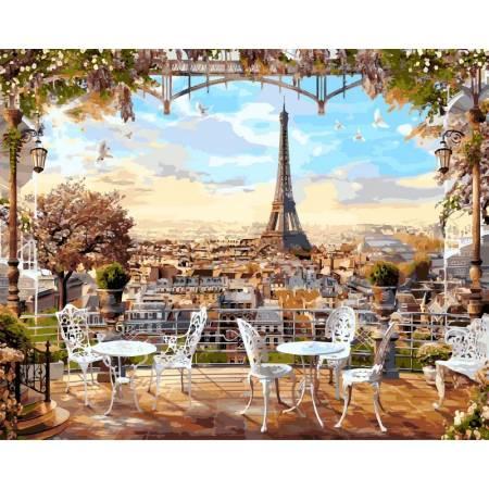 Картина по номерам «Кафе с видом на Эйфелеву башню», модель VP516