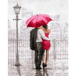 Влюбленные под красным зонтом