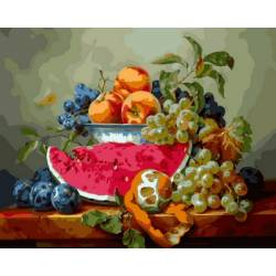 Натюрморт с арбузом и виноградом