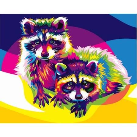 Картина по номерам «Картина по цифрам - Радужные еноты », модель VP602