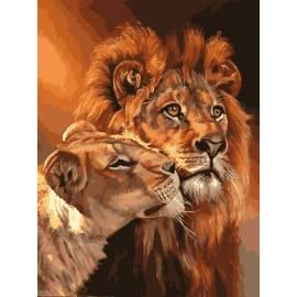 Львиная пара, цветной холст