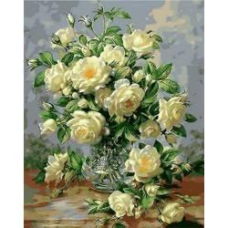Букет белых роз, цветной холст