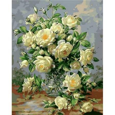 Картина по номерам «Букет белых роз Babylon Premium (цветной холст)», модель NB1115