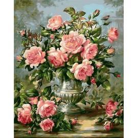 Розы в серебряной вазе, цветной холст