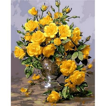 Картина по номерам «Желтые розы в серебряной вазе Babylon Premium (цветной холст)», модель NB1118