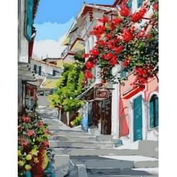 Цветочная улочка, цветной холст
