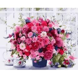 Яркий букет розовых хризантем, цветной холст